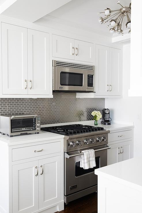 kitchen with gray mini brick tile backsplash