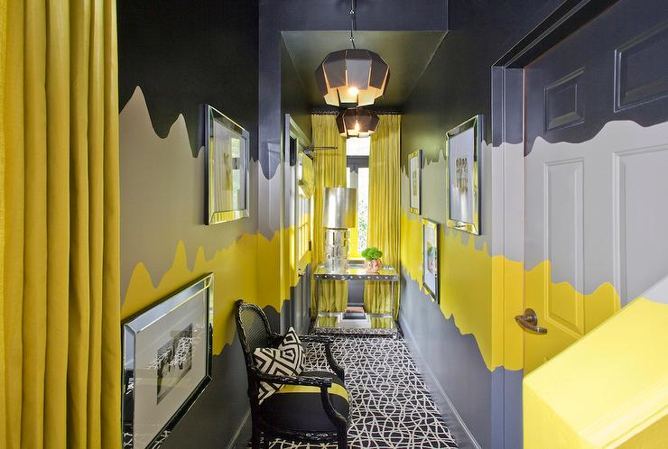 Yellow and Gray Hallway - Contemporary - Entrance/foyer