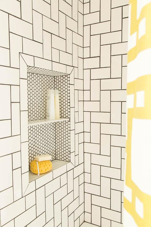 Penny Tiled Shower Niche Contemporary Bathroom