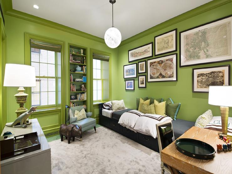 Kids Room With Green Walls Contemporary Boys Room - Boys room with maps