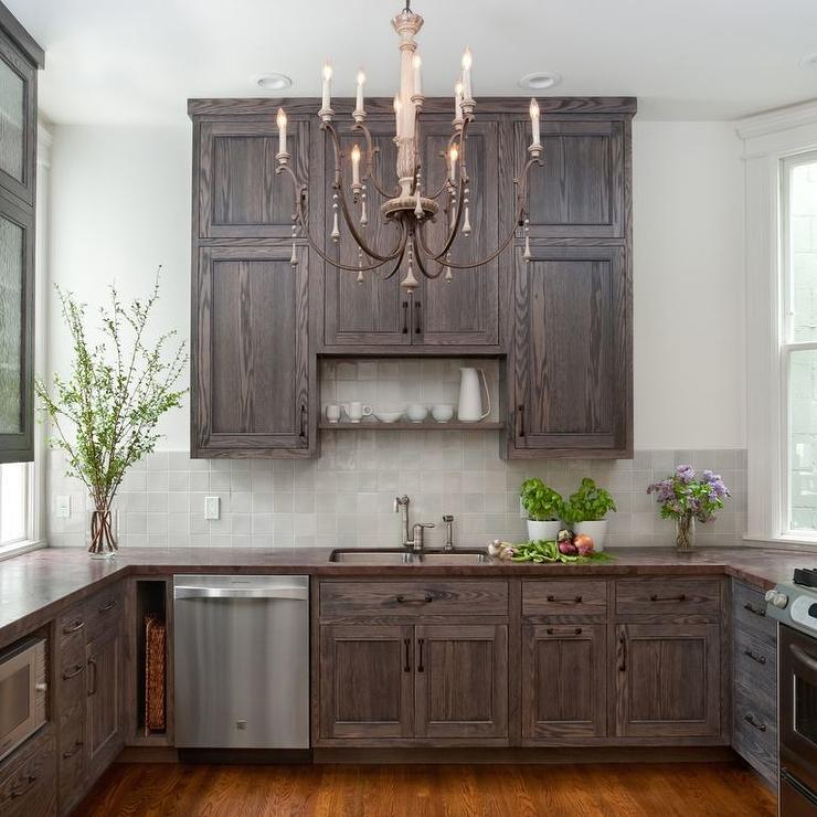 Brown Oak Kitchen Cabinets: Shelf Over Kitchen Sink