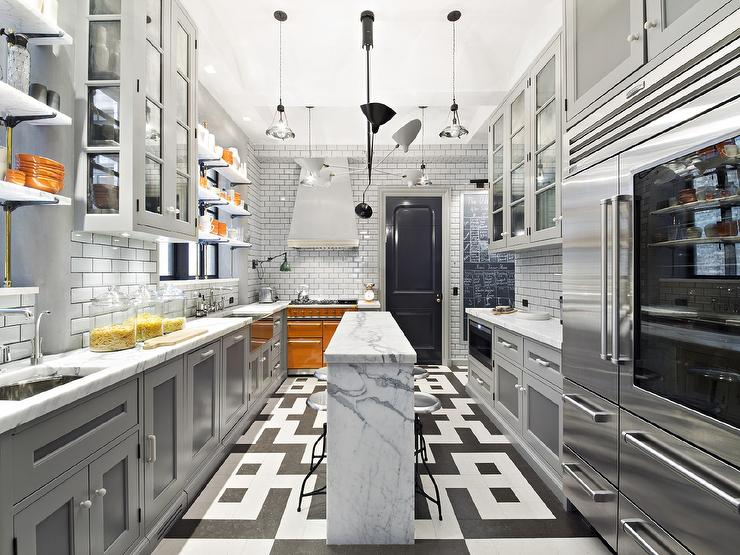 Gray Kitchen With Orange Accents Contemporary Kitchen