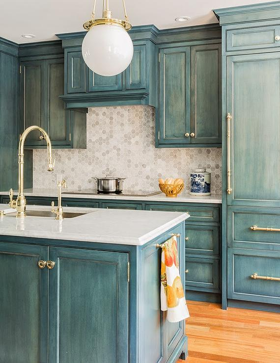 View Full Size Country Kitchen Features Blue Wash Cabinets