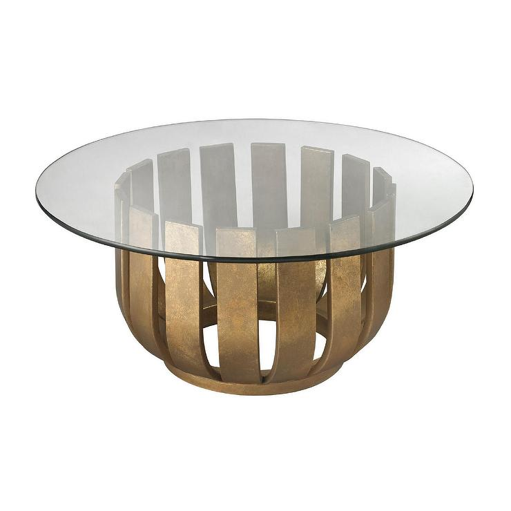 Circular Gold Glass Coffee Table: Gold Leaf Olympia Coffee Table