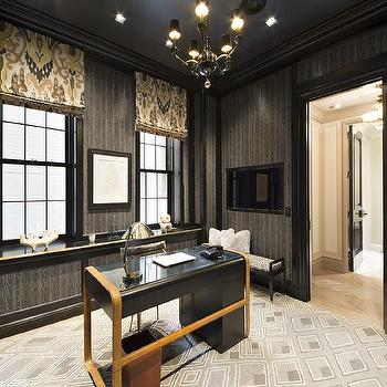 Admirable Den Room And Area Design Ideas Wallpapered Wainscoting Den Largest Home Design Picture Inspirations Pitcheantrous