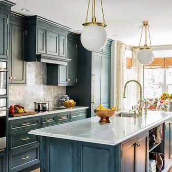 Kitchen With Marble Hex Backsplash Country Kitchen