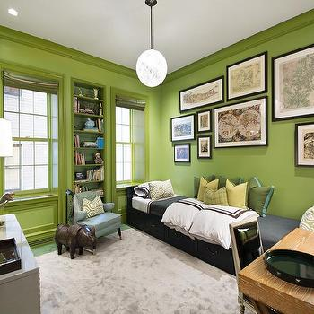 Kids Room with Green Walls, Contemporary, Boy's Room