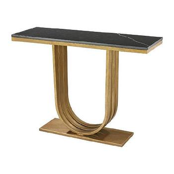Gold Leaf And Black Marble Olympia Console design by Lazy Susan