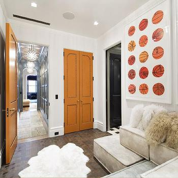 Hermes Orange Doors, Contemporary, Media Room