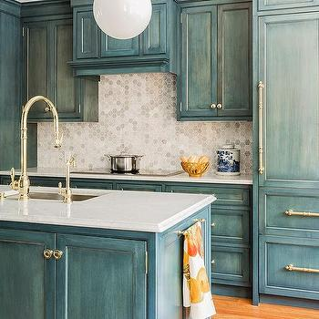 Kitchen With Marble Hex Backsplash