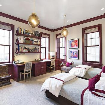 Purple Built in Cabinets, Contemporary, Boy's Room