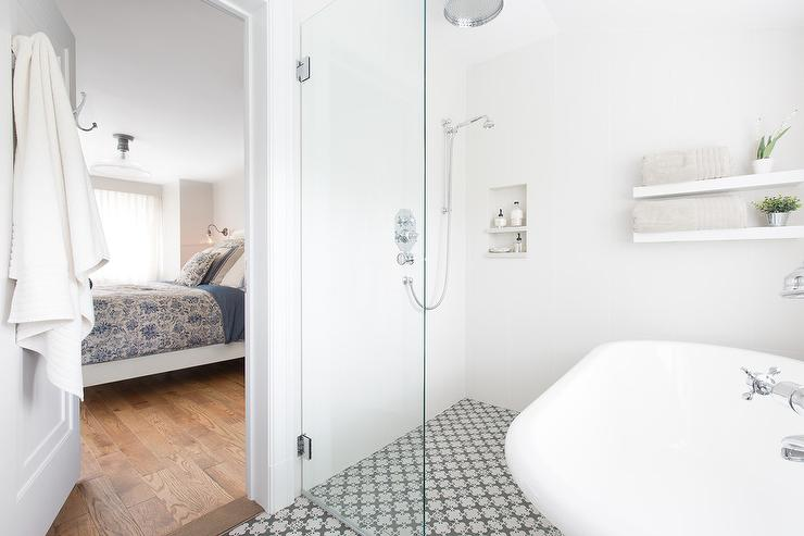 Walk In Shower With Shelves Transitional Bathroom