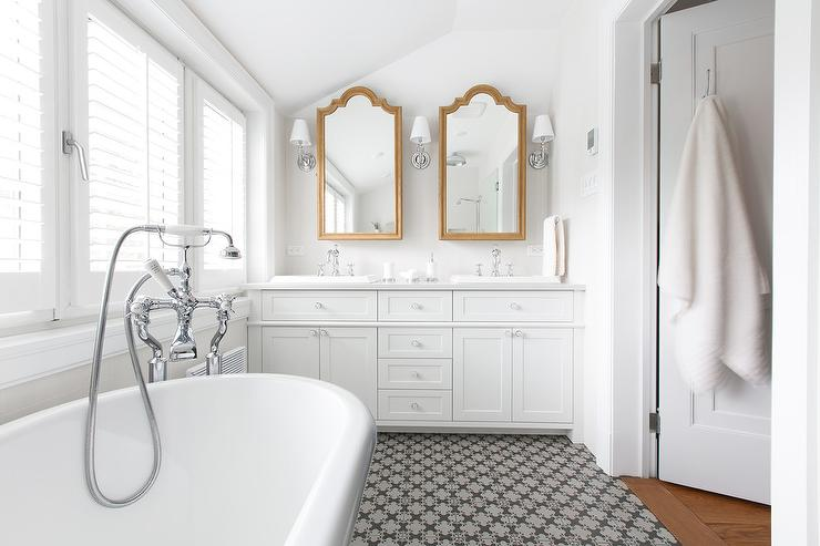 White Bathroom with Gold Vanity Mirrors
