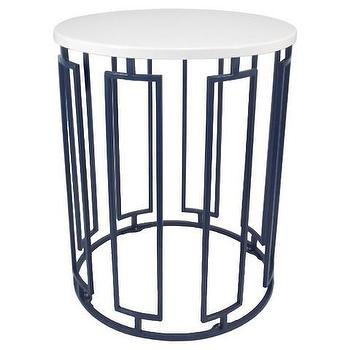 Threshold Round White And Blue Accent Table