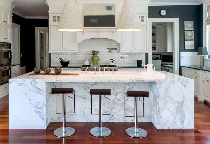 Marble Slab Kitchen Island - Transitional - Kitchen