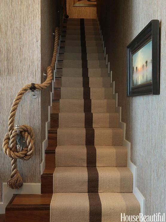Superbe Cottage Staircase Is Dressed In A Jute Striped Stair Runner And A Rope  Handrail.