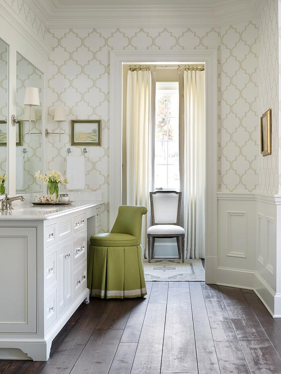 Dressing room with green vanity stool transitional for Bathroom dressing ideas