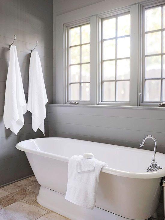 Bathroom With Gray Shiplap Walls Cottage Bathroom