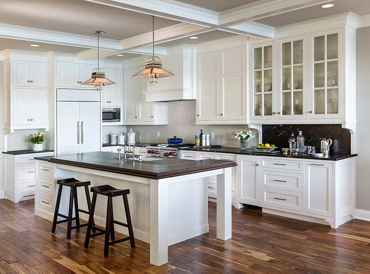 Gray Painted Coffer Ceiling - Cottage - Kitchen