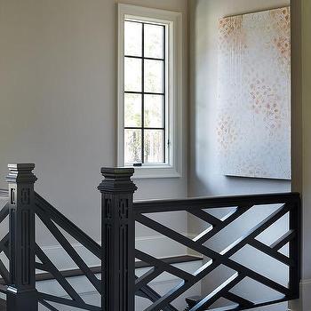 Black Lattice Staircase, Transitional, Entrance/foyer