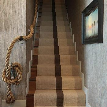 Staircase with Rope Handrail and Jute Runner, Cottage, Entrance/foyer