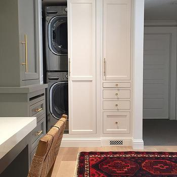Hidden Stacked Washer and Dryer, Transitional, Laundry Room