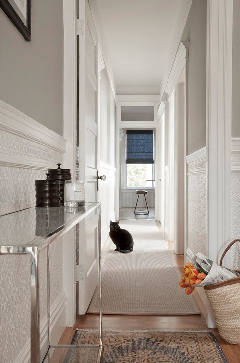 Long And Narrow Hallway With Slim Console Table