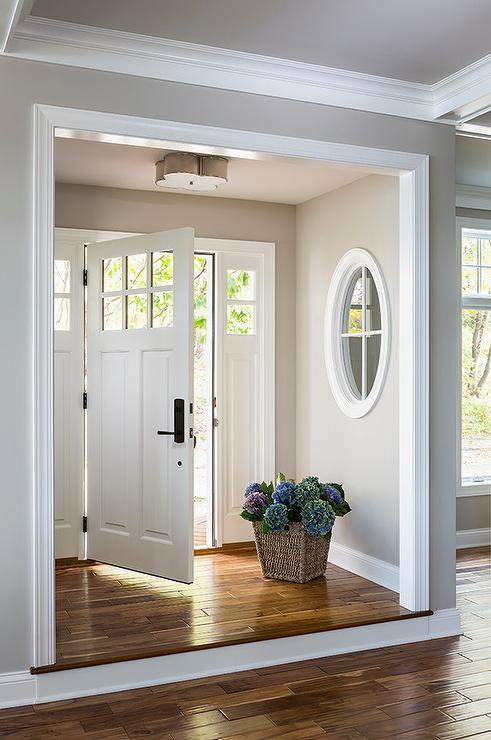 Foyer nook with basil flush mount transitional Front entrance ideas interior