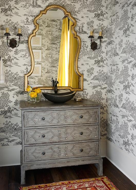 Yellow And Gray French Bathroom