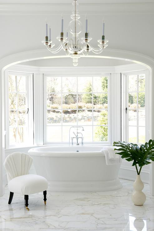 Arched Alcove With Bay Window Tub Hollywood Regency