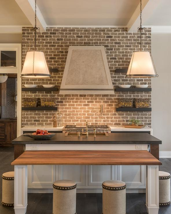 brick-kitchen-backsplash-black-floating-shelves-round-burlap-stools ...