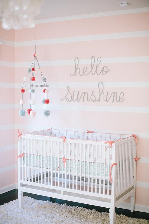 White And Pink Striped Nursery Walls Transitional Nursery