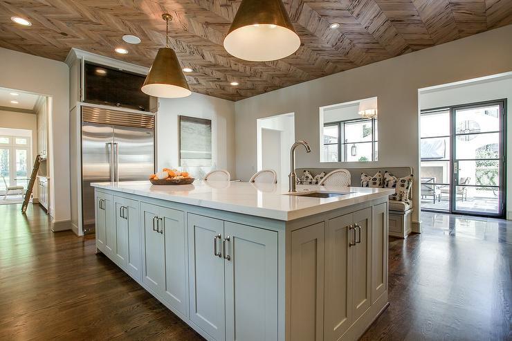 Wood herringbone ceiling transitional kitchen for Tv in kitchen design