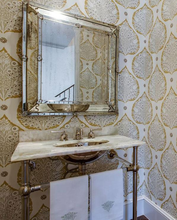 Galbraith And Paul Lotus Wallpaper Transitional Bathroom