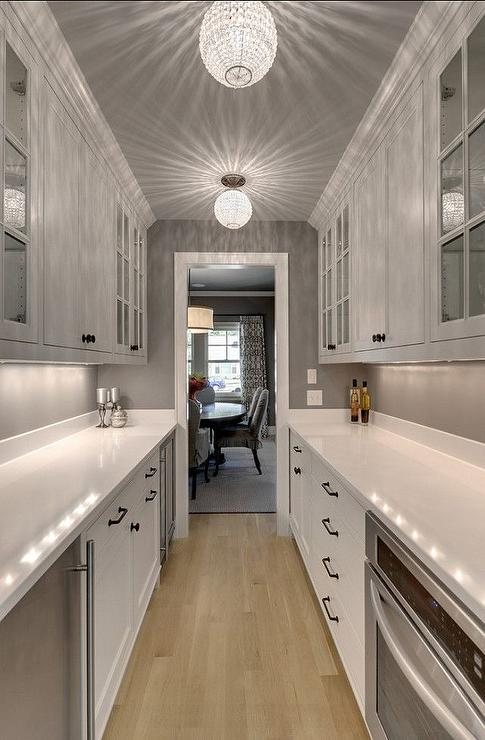 galley style butler pantry design - transitional