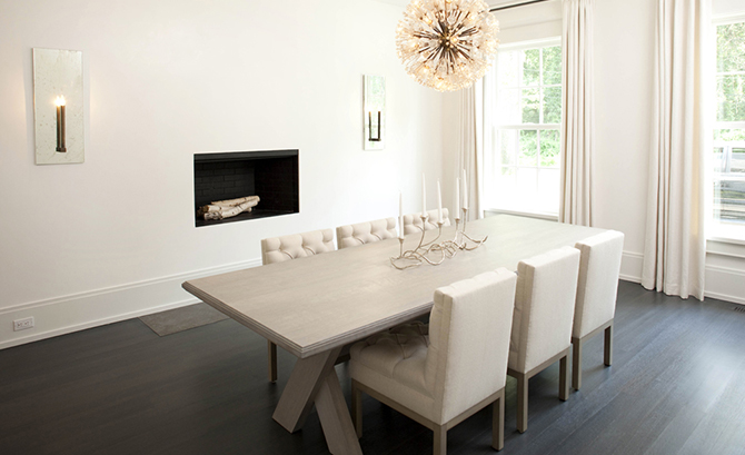 contemporary dining room with x based dining table