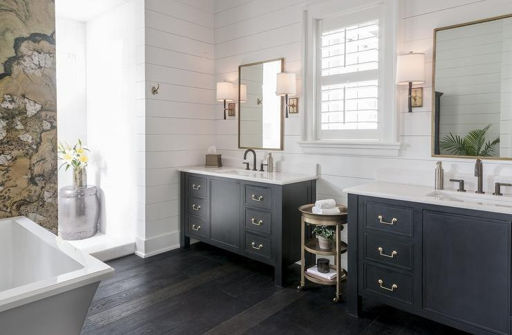 Black Bathroom Vanity With Gold Mirrors