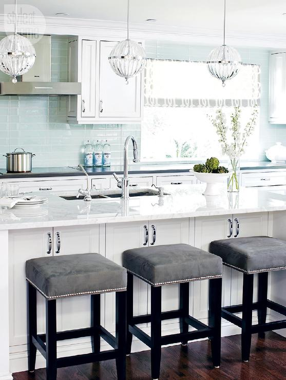 White and Blue Kitchen with Gray Accents Transitional  : janus large 1 light globe pendant blue glass tiles gray velvet counter stool from www.decorpad.com size 557 x 740 jpeg 65kB