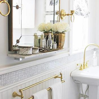 White And Gold Bathrooms Transitional Bathroom