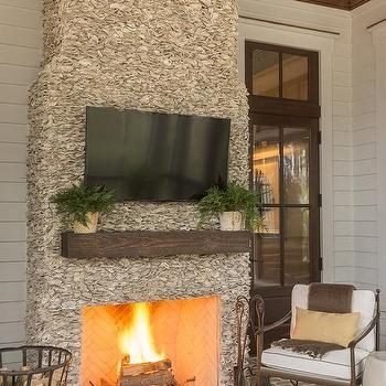 Wrought iron chair design ideas - Outdoor fireplace with tv ...