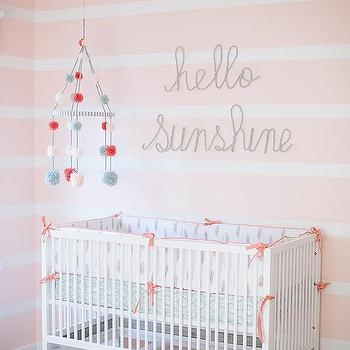 White And Pink Striped Nursery Walls