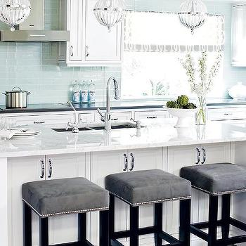 White And Blue Kitchen With Gray Accents
