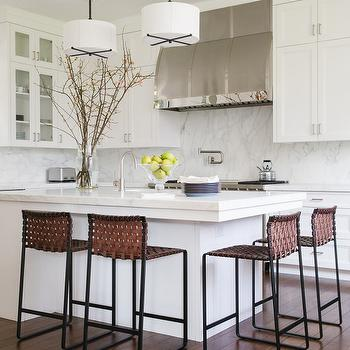 Kitchen Island with Woven Barstools & Woven Island Counter Stools Design Ideas