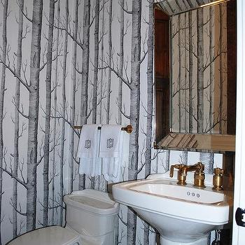 Powder Room with Beveled Wallpaper, Transitional, Bathroom