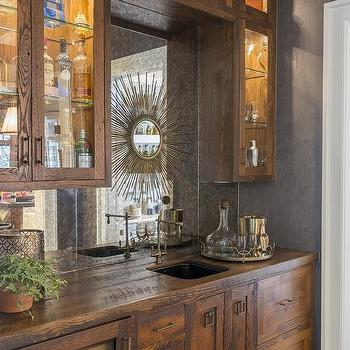 Rustic Floating Bar Shelves With Beadboard Trim Transitional Kitchen