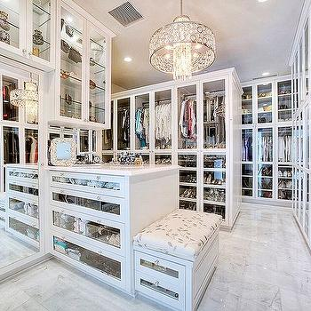 Walk In Closet With Mirrored Island