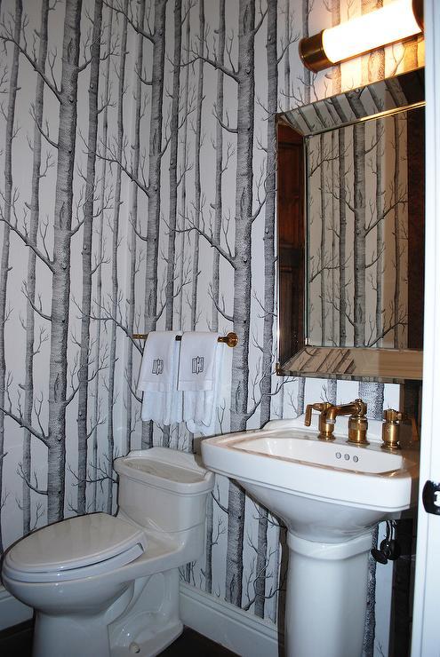 Powder Room With Monogram Hand Towel Design Ideas