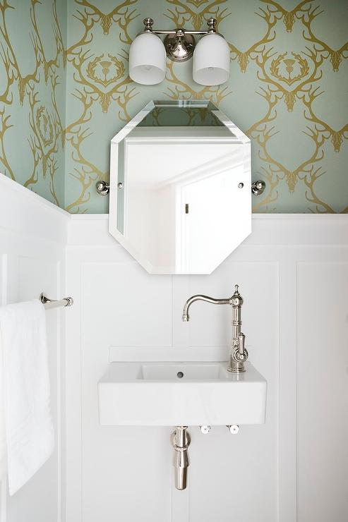 Powder Room With Barneby Gates Deer Damask Wallpaper And Board And Batten