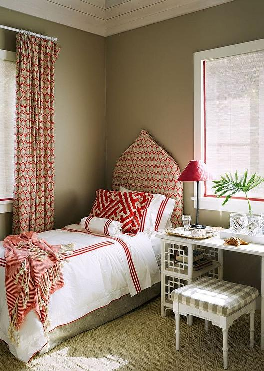 Red And Taupe Bedroom Transitional Bedroom