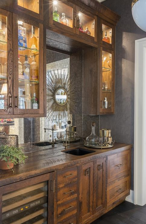 Rustic Wet Bar with Mirrored Backsplash